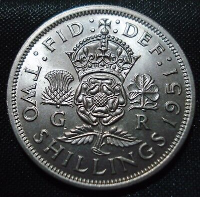 Excellent High Grade 1951 George Vi Florin 2 Shillings Proof-Like Coin