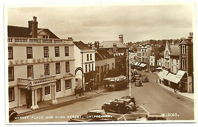 Wiltshire postcard Chippenham Market Place and High Street