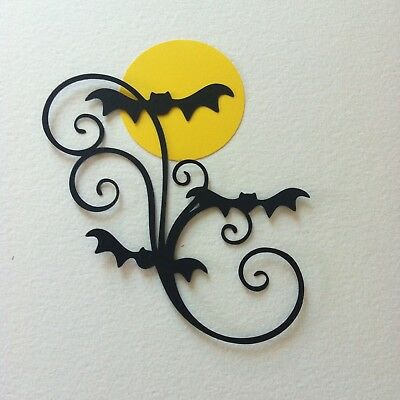 8 X Vampire Bat Flourish With Moon Die Cut Shapes-Cardmaking-Halloween