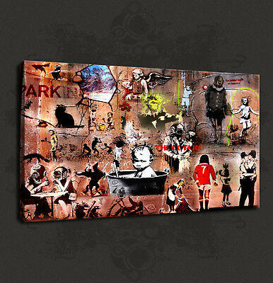 Banksy Tribute Collection Graffiti Street Box Canvas Print Wall Art Picture