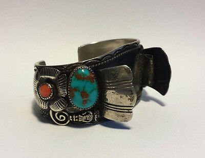 Navajo Native American Sterling Turquoise Coral Signed Watch Cuff