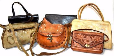 GREAT LOT 6 Vintage TOOLED Leather Resale Western Hippie Purses Bags Wholesale