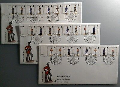 3 x 1974 MERCURY GUERNSEY FDCs - ROYAL MILITIA 10p, 15p, 20p DEFINITIVE STRIPS