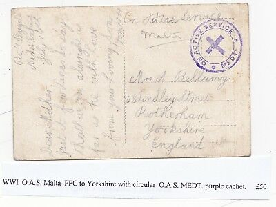 WW1 MALTA ON ACTIVE SERVICE MEDt VIOLET CACHET ON PPC TO ROTHERHAM YORKSHIRE UK