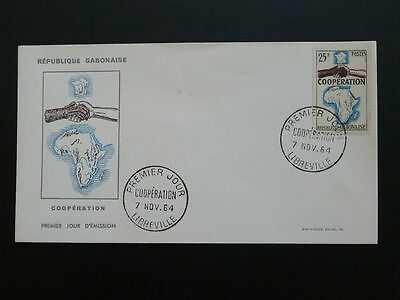 map cooperation hand Decaris stamp FDC Gabon 50161