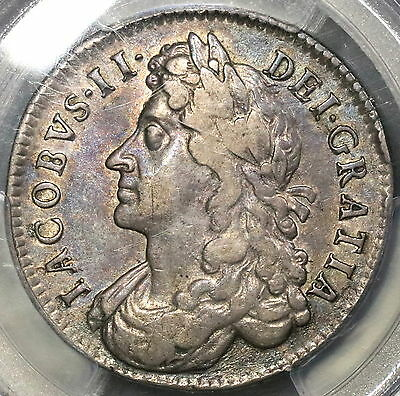 1685 PCGS VF 35 Silver 1/2 Crown James II GREAT BRITAIN Coin (15121301D)