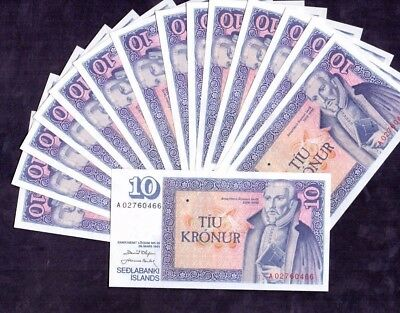 15 pcs of 10 Kronur From Iceland 1961 Unc
