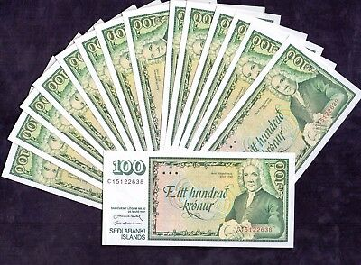 15 pcs of 100 Kronur From Iceland 1961 Unc