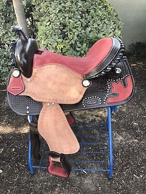 """17"""" New Coral /Roughout Leather Barrel Saddle"""