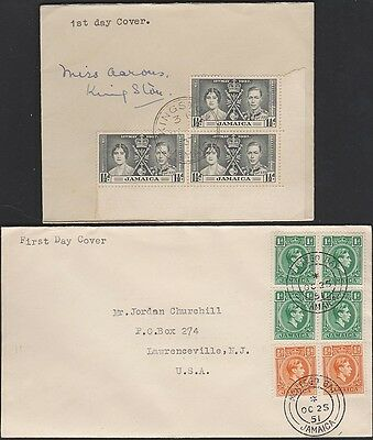 JAMAICA Two FDCs 1937 and 1951
