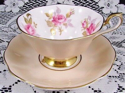 Royal Albert Pink & Gold Roses Creamy Beige Fluted Tea Cup And Saucer