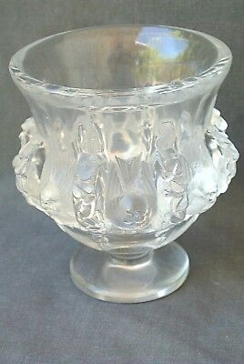 Vintage Signed Lalique Clear Frosted Crystal France Bird Dampierre Vase