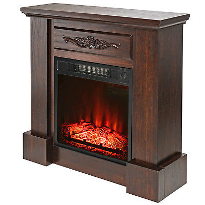 Cool 32 Electric Fireplace Insert Brown Floral Mantel Firebox Flame Heater W Logs Download Free Architecture Designs Rallybritishbridgeorg