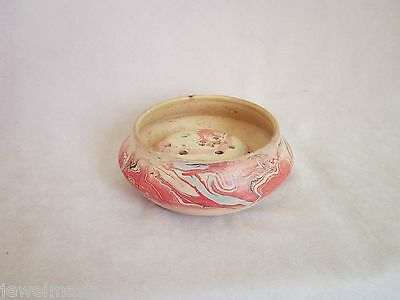 Nemadji Pottery Flower Frog Unmarked 2 Pc