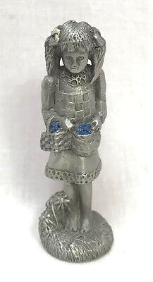 Longaberger Merry Berry Pewter Girl With Baskets And Blueberries 1990