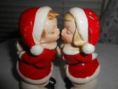 Vintage Christmas Kissing Santa Boy & Girl Figurine Pair