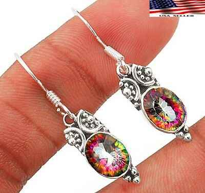 2CT Color Changing Rainbow Topaz 925 Sterling Silver Earrings Jewelry