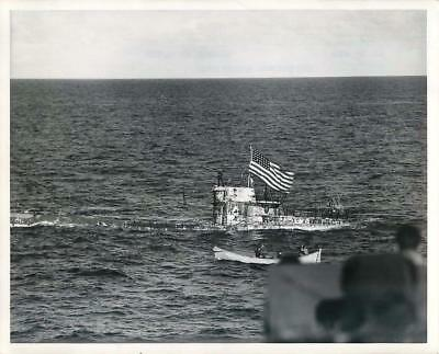 WWII American Flag Flies over Captured German Submarine U-505 Orig Press Photo