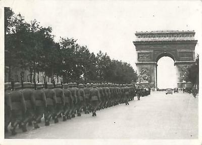 WWII German Troops Parade toward Arc de Triomph on Champs Elysees Press Photo