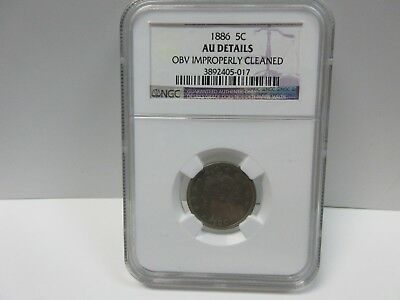 1886 Liberty Nickel 5C - NGC AU Details - Rare Key Date OBV IMPROPERLY CLEANED