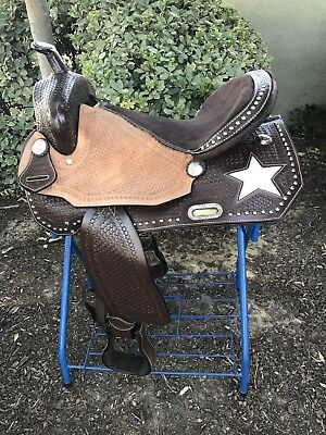 """16"""" New Leather Brown Western Saddle With Star Inlay"""