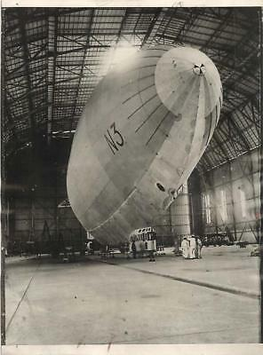 1927 Japanese Airship N-3 in Zeppelin Shed at Kasumigaura Airdrome Press Photo