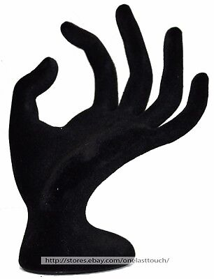 "MOMENTUM BRANDS* 6"" RING HOLDER Mannequin Hand BLACK VELVET-LIKE Jewelry Display"