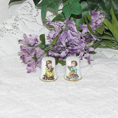 2 Porcelain Thimbles Children Boy Girl Vintage Sewing Collectible Japan Mij
