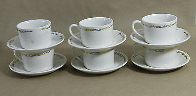 Vintage SYRACUSE CHINA Canada '69 Set 6 Coffee Cup & Saucer Canadian Pacific