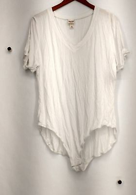 e570eaa5cd2 Mossimo Plus Size Top XXL Short Sleeve V-Neck Body Suit Style White New 2nd