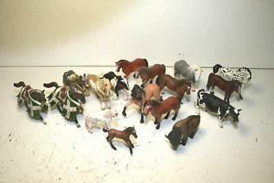 Large Schleich Horse Figure Lot Including Bison, Cow, Unicorn Foal, & Appaloosa