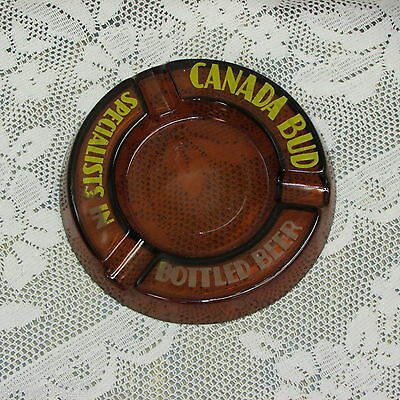 Vintage Brown Glass Ashtray Canada Bud Bottled Beer Brewery Advertising Man-Cave
