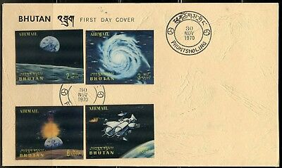 Bhutan 3-D Space Partial Set Scott#118/118K Set On Two  First Day Covers