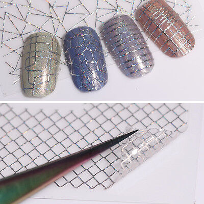 12 Patterns Big Sheet Holo 3D Nail Stickers Laser Gold Silver Aurora Line Decals