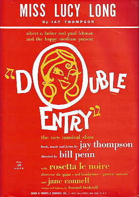 "Rosetta LeNoire ""DOUBLE ENTRY"" Jane Connell / Jay Thompson 1961 FLOP Sheet Music"