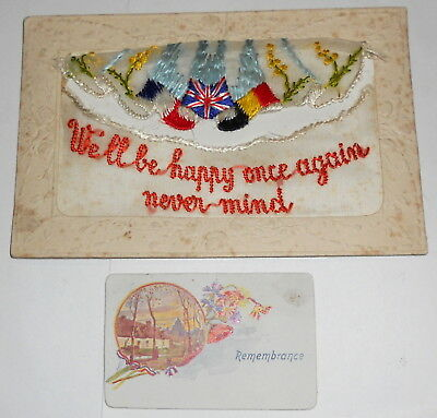 """Postcard -  Silk World War 1 - """"we'll Be Happy Once Again Never Mind"""""""