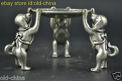 Collectible Noble China Old Tibet Silver 3 Dog Hold Taiji Pattern Candlestick