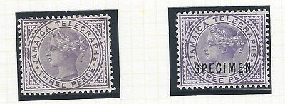 Jamaica 1889 Telegraph 3d stamp two mint examples one overprinted SPECIMEN