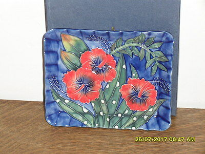 Old Tupton Ware Stunning Hibiscus Pin Tray - Brand New In Box