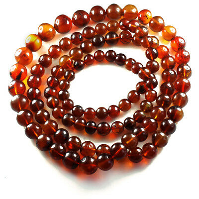 59.6g 100% Natural Mexican Blood Red Amber Bead Bracelet Necklace CSFb471