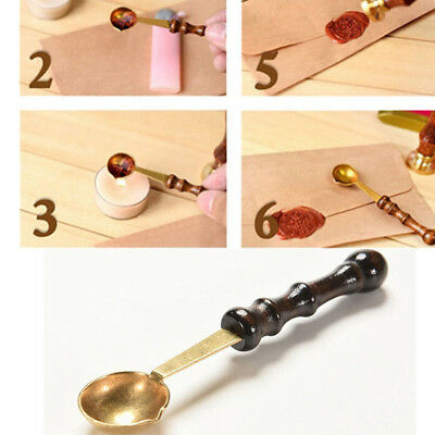 Vintage Bronze Wood Handle Anti-hot Grill Stamp Letter Seal Sealing Wax Spoon