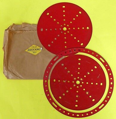 2 x Meccano 6in Circular Plate & 1 x Circular Strip. Post-war Medium Red