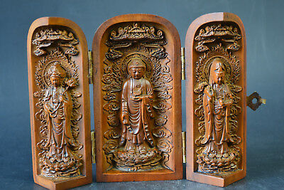 Vintage China Collectible Decor Old Wood Carve Exquiiste Buddha Statue Box