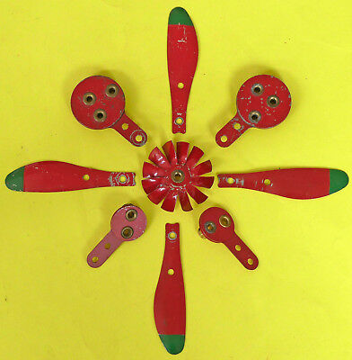 Meccano Single & Triple Eccentrics, Propeller Blades & Fan. Post-war Medium Red