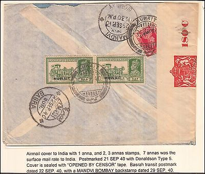Kuwait Gulf Airmail Censor Cover With Donaldson Type - 5 Franking Rare