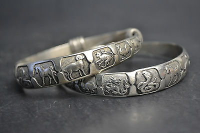 China Collectible Decorate Old Tibet Silver 12 Animal Zodiac Pair Bracelet