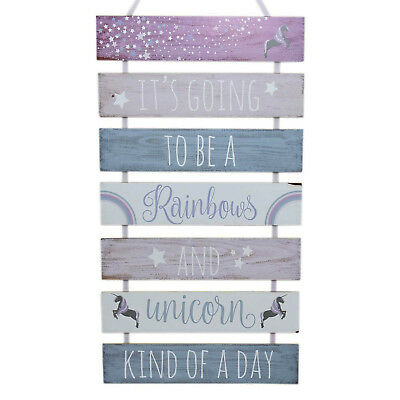 7 Tier Rainbows and Unicorn Message Wooden Outdoor Shed Patio Lawn Garden Plaque