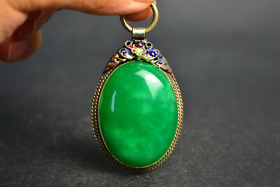 Vintage China Style Decor Old Green Jade Tibet Silver Delicate Noble Pendant