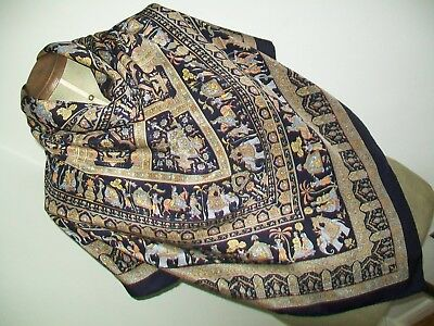 Elephants & Maharajas ! Huge Indian Oriental Design Vintage Silk Scarf / Shawl