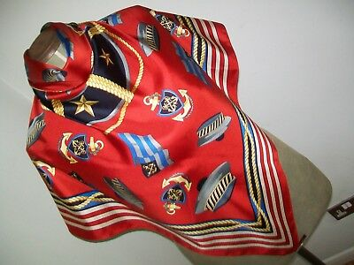 Art Of Silk. Colourful Ensign / Nautical Design Vintage Silk Scarf. New With Tag